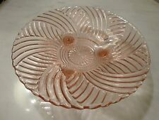"""Pink Depression Glass 3 footed Bowl 10"""" Across"""