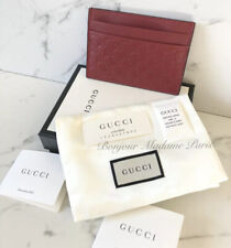 New NIB Authentic Gucci Guccissima Credit Card Holder Case Wallet Red
