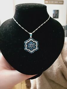 Dark Blue Tanzanite & Imitation Diamonds 925 Sterling Silver Pendant & Necklace
