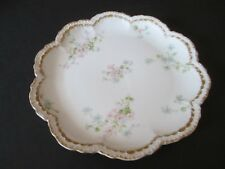"8.5"" CH Field Haviland Limoges White Scalloped Plate with Flowers and Gold Trim"