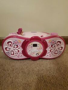 Barbie Pink Mattel Radio Disc Take Along Tunes Toy CD Player Boom Box - Works