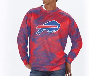 New Zubaz NFL Men's Buffalo Bills Performance Crew Neck Red Blue Size S