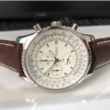 46mm Quartz Chronograph White Dial luminous hands Japan Quartz Movement Watch