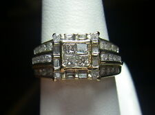 10K Yellow Gold Diamond Wedding, Engagement, Multi-Stone Center Princess Ring