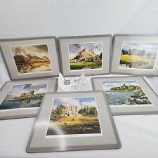"""Pimpernel Scottish Castles Forests Original Box 6 Set 12"""" X 9"""" Cork Back Vintage"""