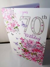 Female 70th Birthday Card Floral Design , Verse inside - Nigel Quiney Card DS576