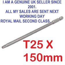 "1/4"" Hex Shank 150mm Long T25 Magnetic Torx   Security Screwdriver Bit"