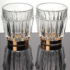 2 Bowle Becher Gläser Bleikristall Gold Dekor Kristall Glas Becher mattiert K82