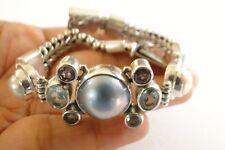 White Black Mabe Pearl Blue Topaz Purple Amethyst 925 Sterling Silver Bracelet