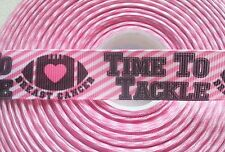 """TIME TO TACKLE BREAST CANCER"" - PINK GROSGRAIN RIBBON-7/8"" X 1 YARD-FOOTBALL"