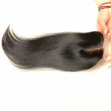 100 Brazilian Virgin Human Hair Top Lace Closure 4x4'' Straight Mid Part Black