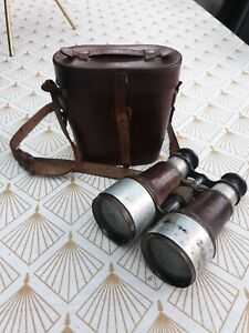 Dollond binoculars With Leather Case WW1 Military Vintage Antique Steampunk