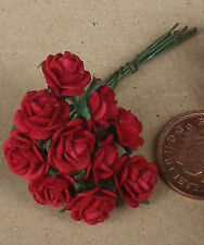 1:12 Scale 1 Bunch (10 Flowers) Of Red Paper Roses Dolls House Miniature B