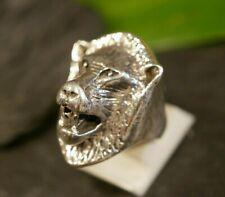 Plastischer Silber Ring Groß Löwe Raubkatze Afrika Tier Wildnis Savanne Rocker