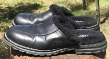 Uggs Women's Black Leather Sheepskin Lug Sole Mules Size 9 M US 40 EU #5389