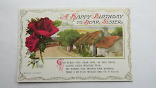 Edwardian Vintage Birthday Card Postcard Sister HM Burnside Poem Deep Red Roses