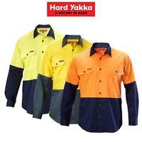 Mens Hard Yakka Koolgear Hi-Vis Long Sleeve Work Shirt Vented Lightweight Y07558