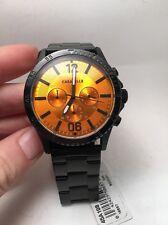 Caravelle NY 45A108 Men's Chronograph Black IP Steel Bracelet Orange Dial-R5