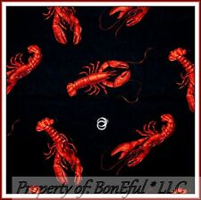 BonEful Fabric FQ Cotton Quilt Black Red Large Lobster Fish Ocean Beach Sea*food