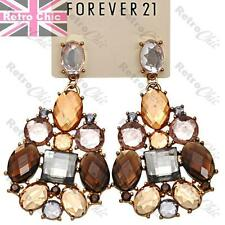 "RHINESTONE big 3""CHANDELIER EARRINGS topaz cognac brown amber VINTAGE GOLD TONE"