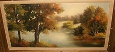 NONA TAYLOR LARGE OIL ON CANVAS RIVER LANDSCAPE PAINTING