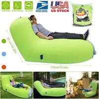Air Sleeping Bag Lazy Chair Inflatable Lounge Air Beds Beach Sofa Water Float US