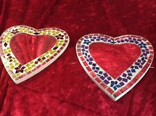 Mosaic Heart Mirrors. Set Of 2 Small Mirrors