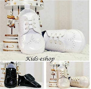 BABY BOYS PATENT WHITE BEIGE PRAM SHOES CHRISTENING WEDDING SMART FORMAL PARTY