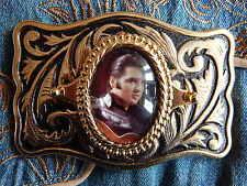 Nouveau ELVIS PRESLEY Boucle de ceinture en métal doré Western Rock and Roll Rockabilly