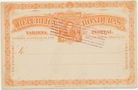 HONDURAS 1891 2C orange Kab.-GA-Postkarte m selt ERSTTAG-Gefälligkeitsentwertung