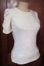 Forever 21 NWT Ivory Sequin Front Stretch Top Size S