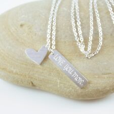 Dainty Silver Plated Love You More Heart Charm Pendant Necklace in Gift box