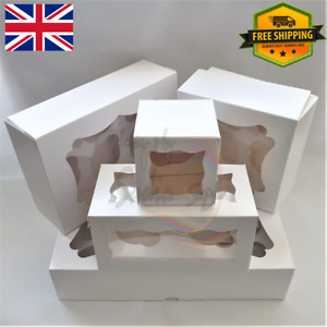 Quality White Cupcake Boxes 1 2 4 6 12 Hold Cup Cakes With Removable Trays