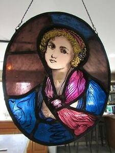 Antique Hand painted Leaded Stained glass Window Victorian Era 16 x 13 AMAZING !