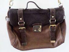 CYNTHIA ROWLEY brown leather pony hair ostrich school messenger satchel bag