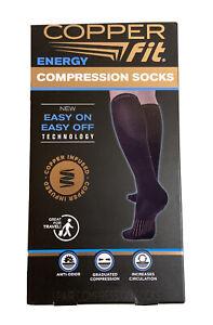 Copper Fit Energy Compression Socks Unisex Size S/M BLACK Anti-Odor (Open Box)