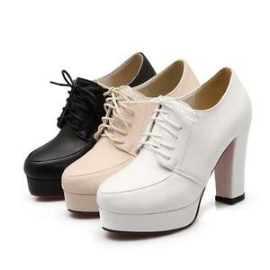 Womens Lace Up Platform Ankle Boots Plus Size Block Heel Round Toe Shoes Formal