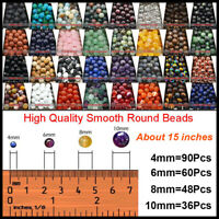 High Quality Natural Gemstone Round Spacer Loose Beads 4MM 6MM 8MM10MM DIY