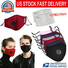 Cotton Face Mask & 2 Filters Washable Reusable Activated Carbon Respirator
