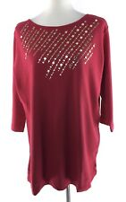 Quacker Factory Medium Top Cotton Relaxed Fit Rhinestone Bead Embellished Tunic