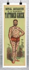 Tattooed Greek Vintage Freak Show Poster Rolled Canvas Giclee Print 17x42 in.