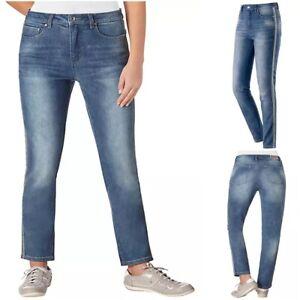 NEW RRP £62 Ex M&S Light Indigo Skinny Mid Rise Side Stripe Women's Trouser