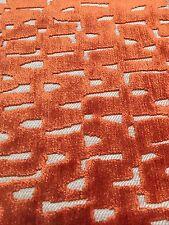 Villa Nova Geometric Cut Velvet Upholstery Fabric Vali Orange 8.0 yd V3122/12