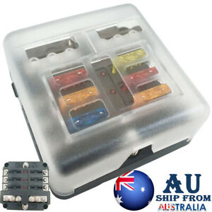 6 Way Blade Fuse Box 19PC Block Holder Indicator LED Light 12V/32V Car Marine