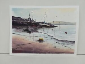 Sailing boat on Newquay beach Wales Harbour Art watercolour painting Original