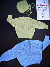 vintage babys lacy cardigans and bonnet hat knitting pattern
