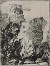 IMPRESSIONIST CONTINENTAL CASTLE Orig Antique Etching c1930