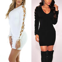 SEXY Women Long Sleeve Lace Bodycon Party Ladies Casual Short Mini SHORT Dress