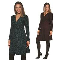 Womens Ladies Pattern Dress Drape Print Stretch Long Sleeve Ruched Knot Party