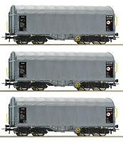 """Roco H0 76442-S Schiebeplanenwagen """"Shimmns"""" der AAE / SSAB (3 Stück) NEU + OVP"""